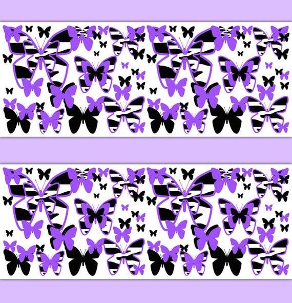 Best Purple Zebra Print Wallpaper Border Butterfly Decal Girl Wall With Pictures