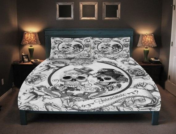 Best Skull Bedding Day Of The Dead Duvet Comforter By Folkandfunky With Pictures