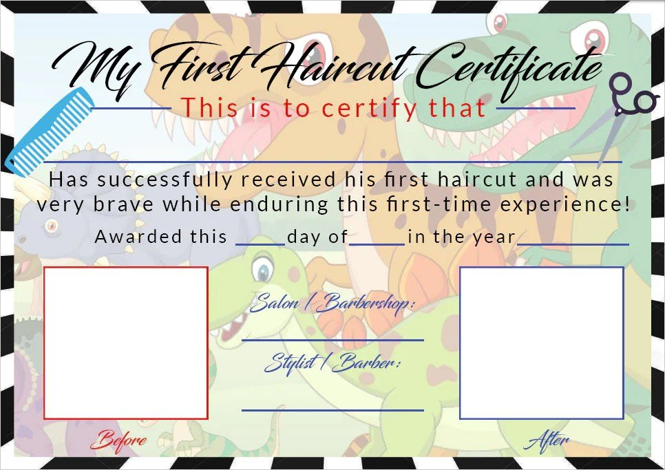 Free Boys First Haircut Certificate Baby First Haircut Photo Etsy Wallpaper