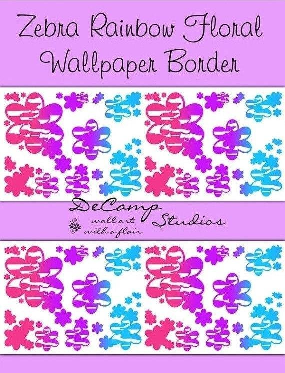 Best Rainbow Zebra Wallpaper Border Floral Safari Animal Print With Pictures