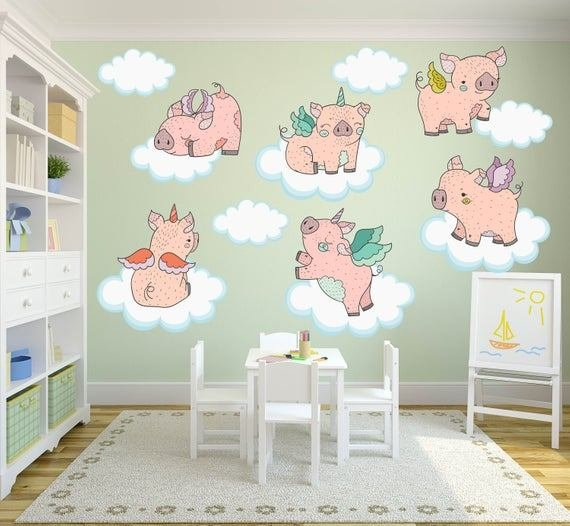 Best Pig Wall Decals Piglet Wall Decals Pig Nursery Decor Pig With Pictures