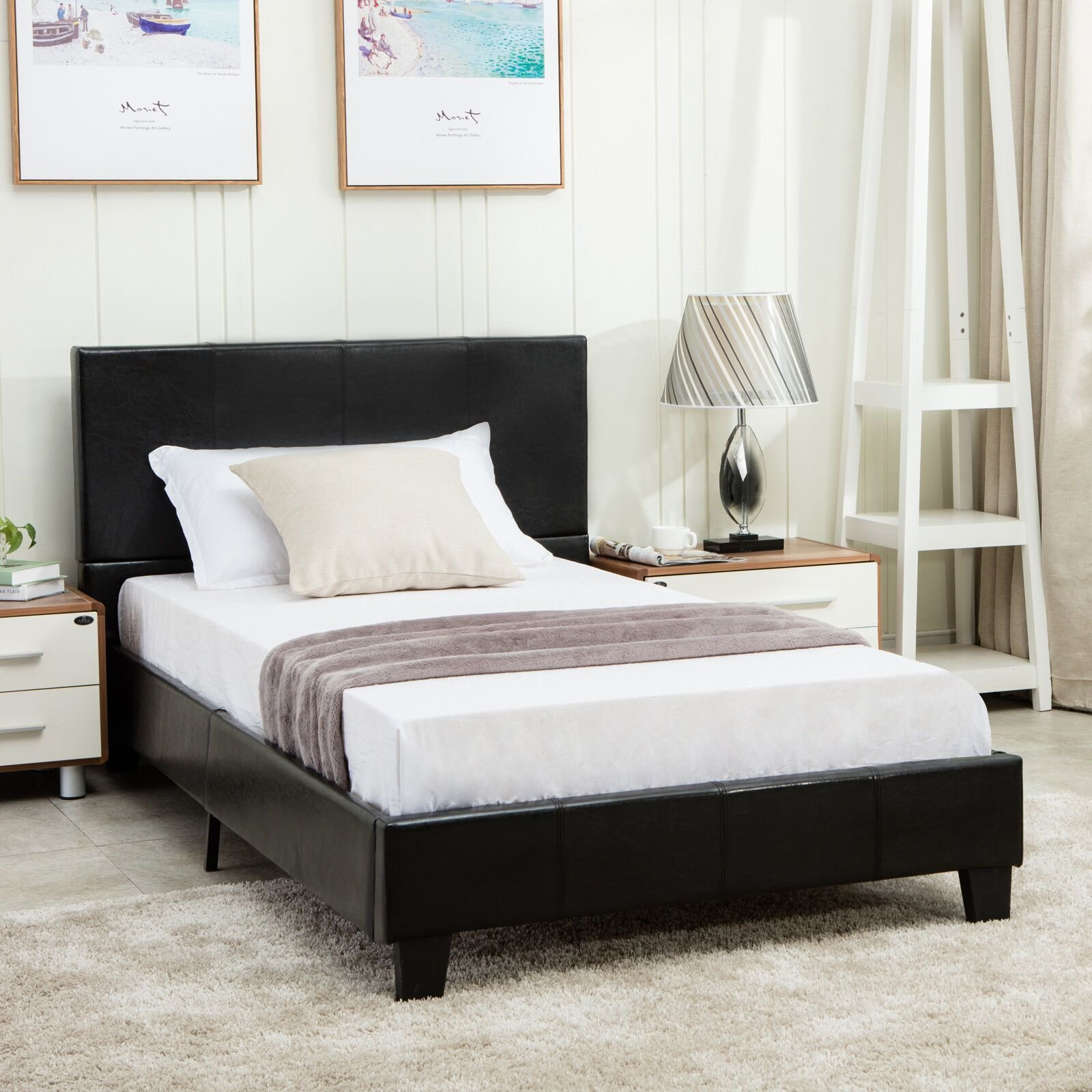 Best Full Size Faux Leather Platform Bed Frame Slats With Pictures