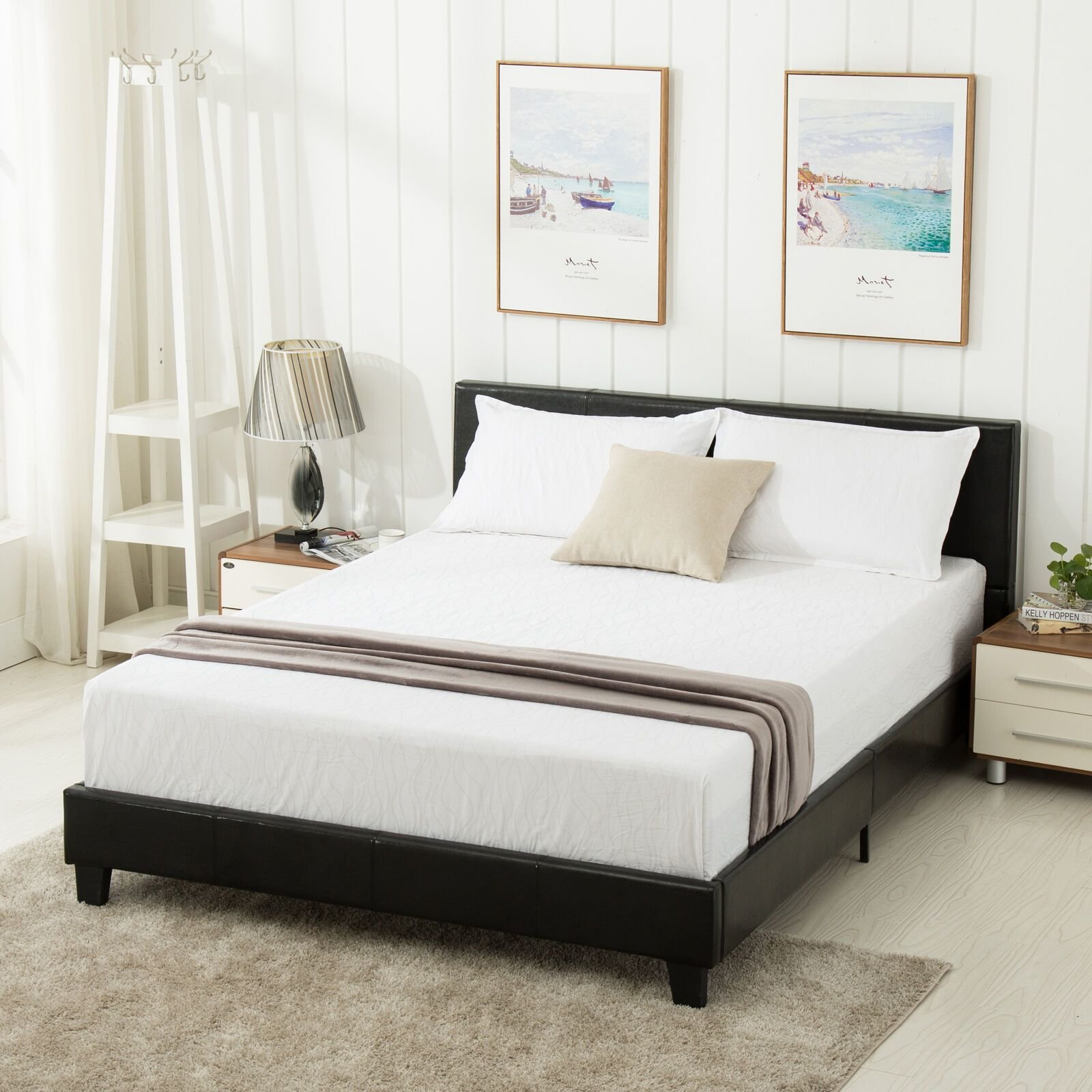 Best Queen Size Faux Leather Platform Bed Frame Slats With Pictures