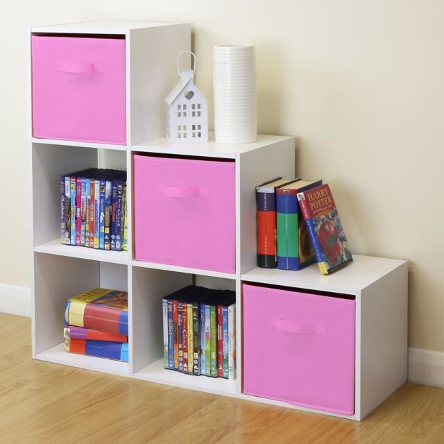 Best White 6 Cube Kids Toy Games Storage Unit Girls Boys Bedroom Shelves 3 Pink Boxes Ebay With Pictures