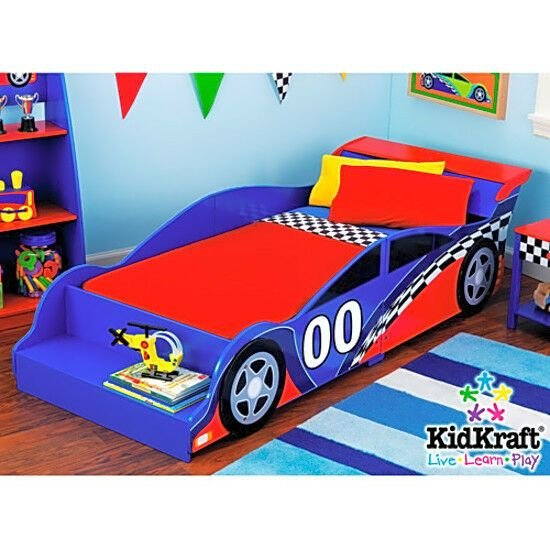 Best Kids Race Car Bed Toddler Bed Boys Child Furniture Bedroom Red Wooden Ebay With Pictures