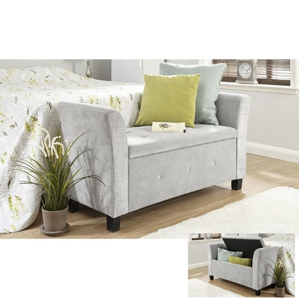 Best Fabric Storage Bench Chaise Longue Deluxe Stool Bedroom With Pictures