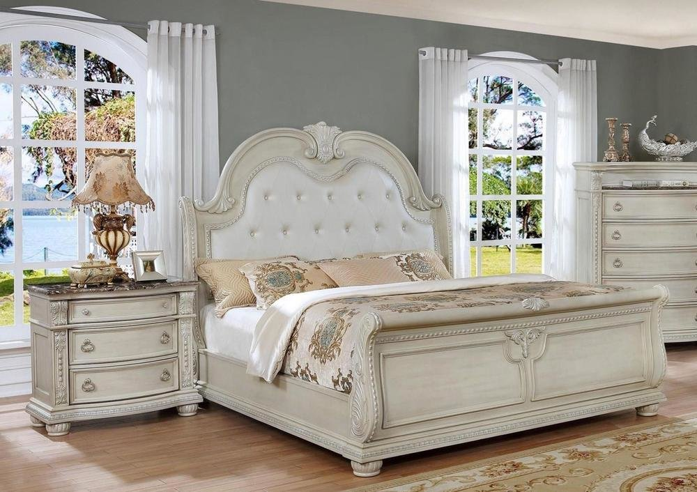 Best Antique White Solid Wood Queen Bedroom Set 3Pcs Classic With Pictures
