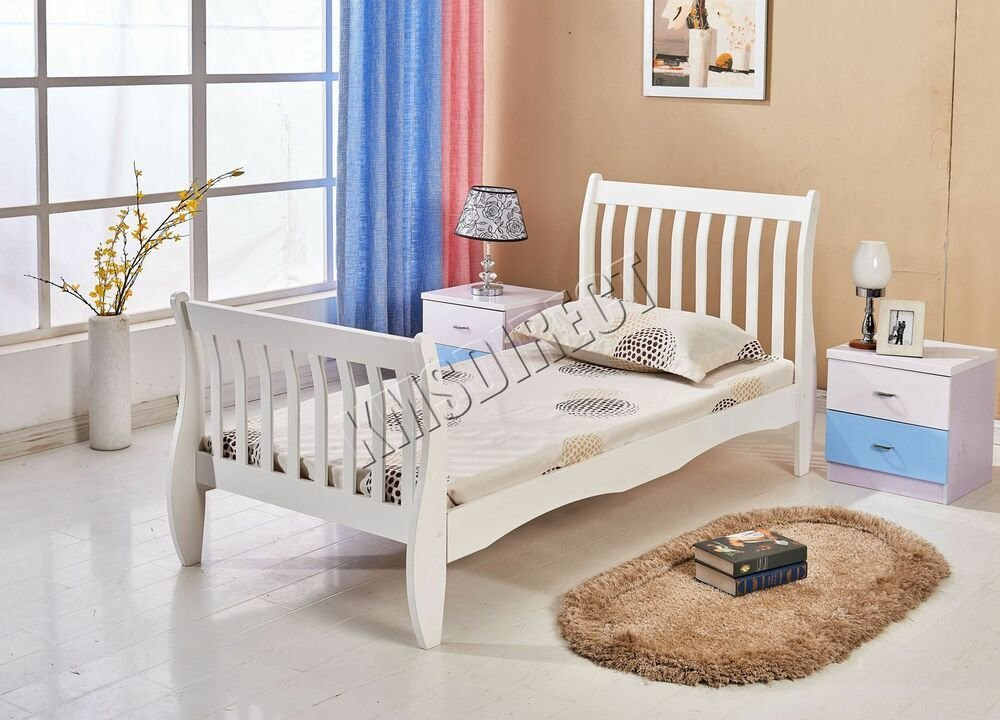 Best Westwood 3Ft Single Wooden Sleigh Bed Frame Pine Bedroom With Pictures