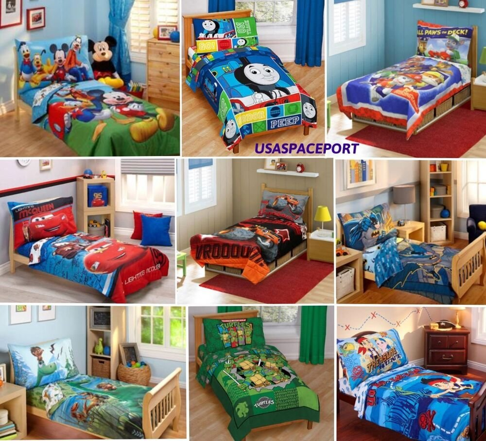 Best 4Pc Boys Toddler Bedding Set Comforter Sheets Bed In A Bag With Pictures