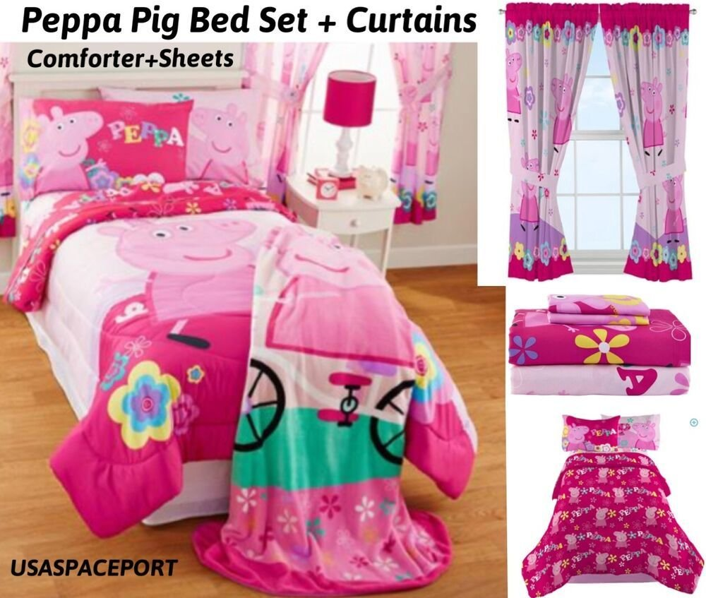 Best Peppa Pig Twin Full Comforter Sheets Curtains Set Bed With Pictures