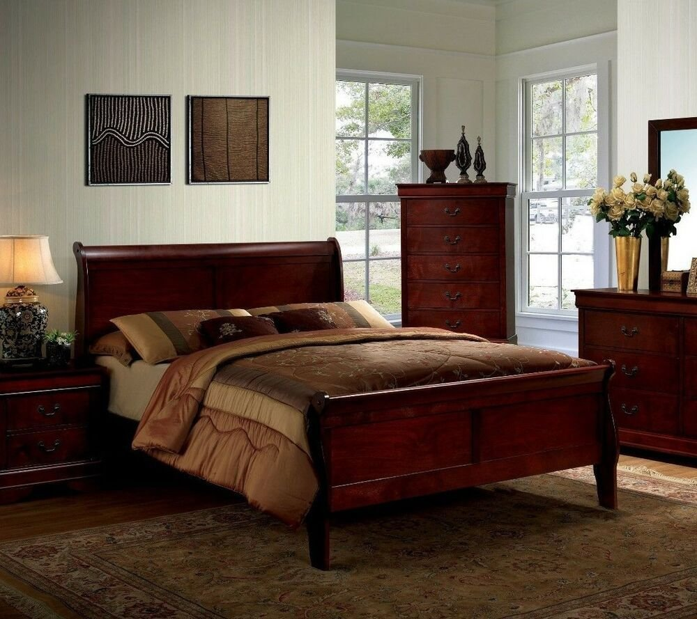 Best 1Pc Elegant Design Cherry Finish Full Size Panel Bed With Pictures