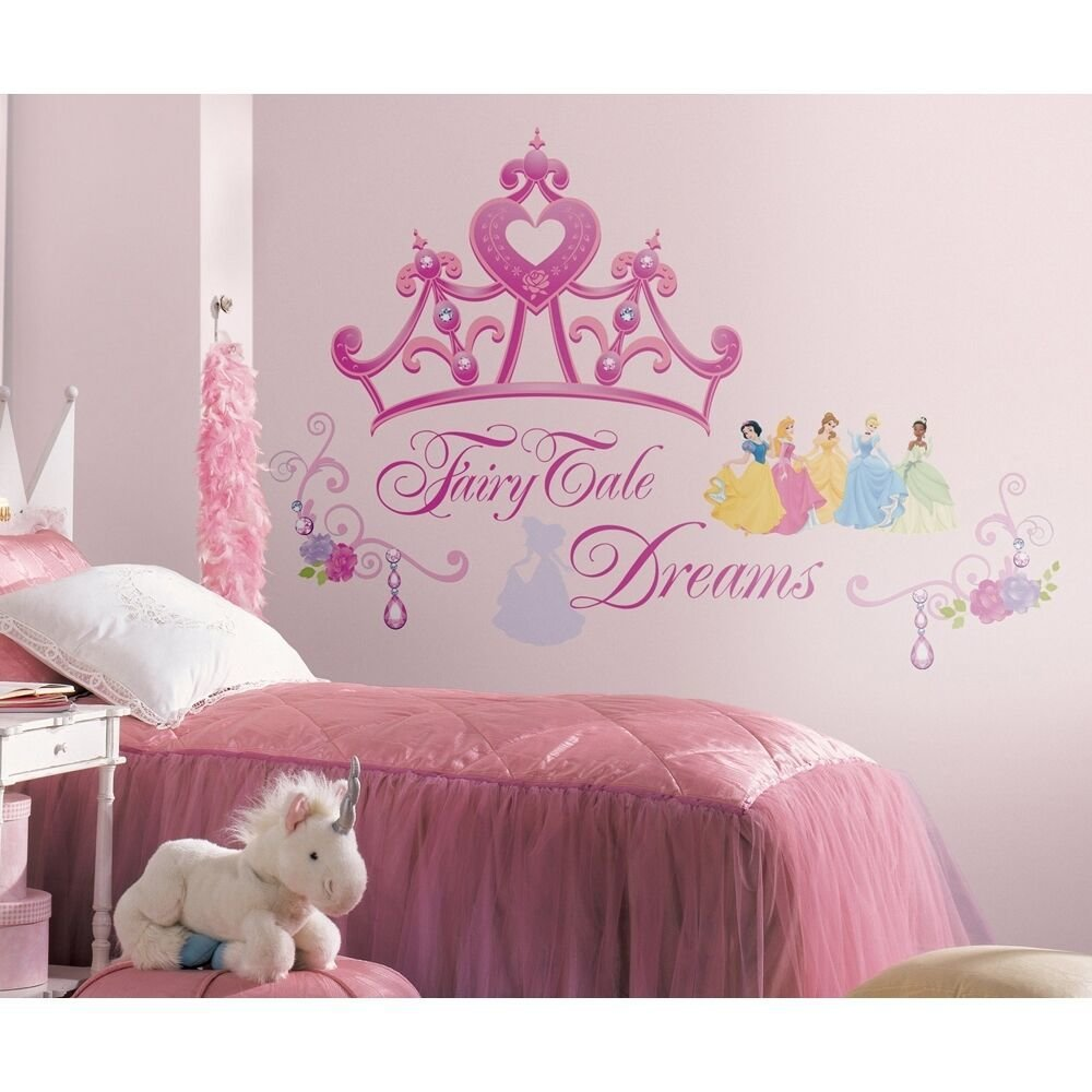 Best Disney Princess Crown Wall Mural Stickers Girls Pink Tiara With Pictures