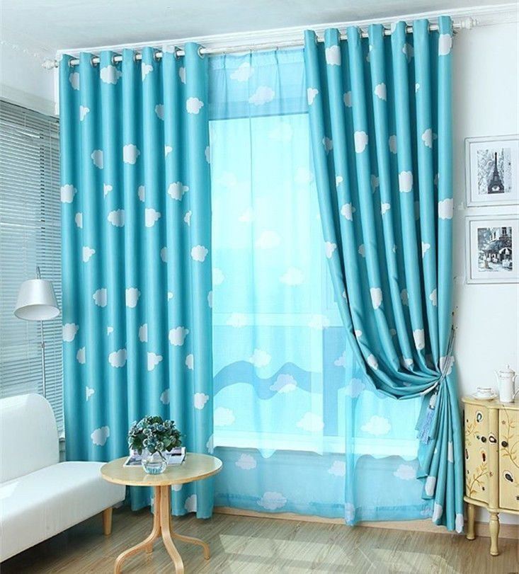 Best 2 X Blockout Eyelet Curtains Kids Boys Girls Sky Blue With Pictures