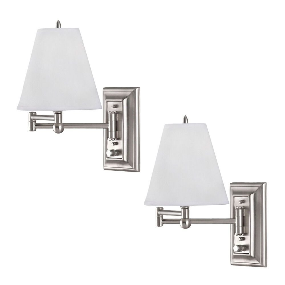 Best Brushed Nickel Wall Mount Swing Arm Reading Bedside Lamp With Pictures