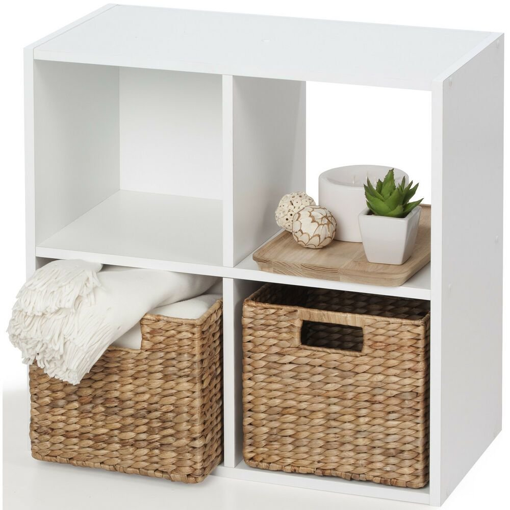 Best Storage Unit 4 Cube White Bookcase Display Shelf Showcase With Pictures