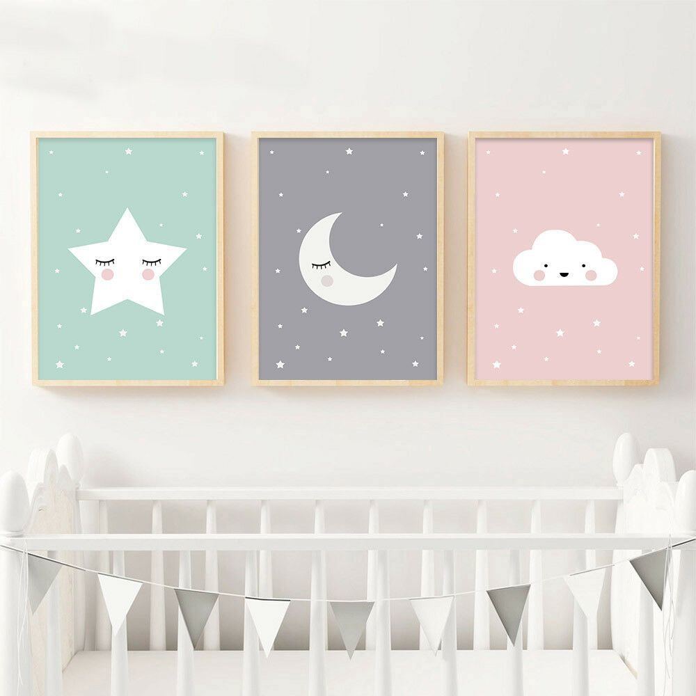 Best Moon Star Nursery Quote Canvas Nordic Poster Cartoon Art With Pictures