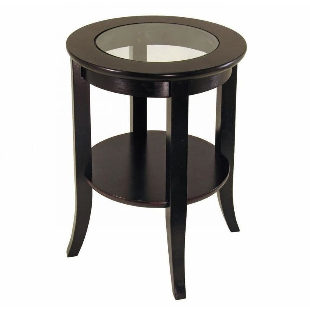 Best Espresso Round End Table Clear Glass Top Bedroom Living Room Accent Furniture Ebay With Pictures