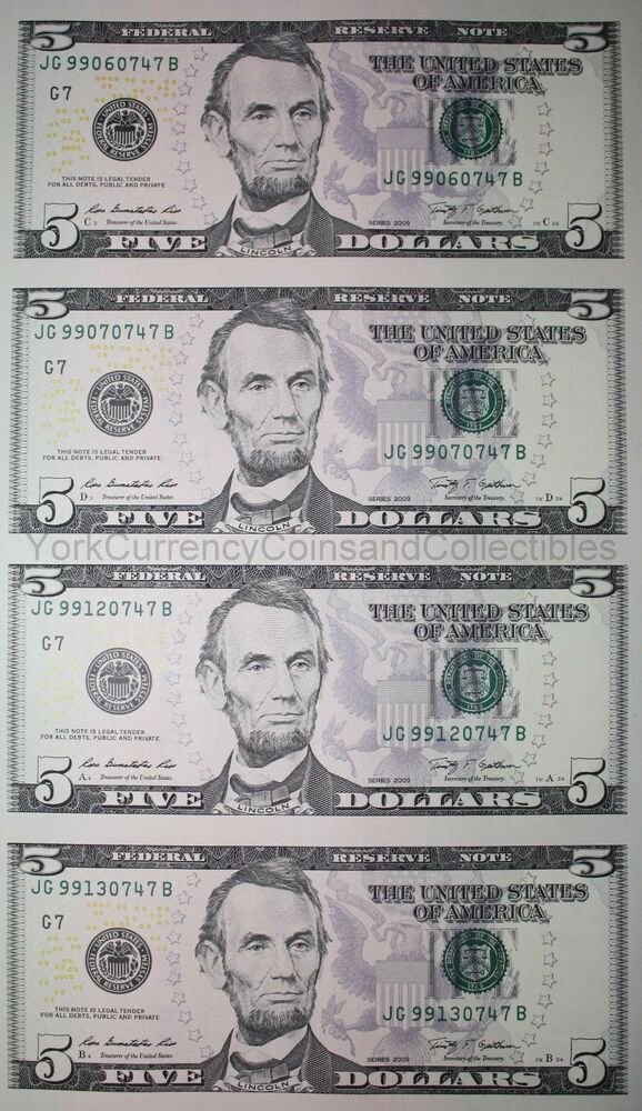 Free Uncut Sheet Of 5 Five Dollar Bills Genuine Us Un Cut Wallpaper
