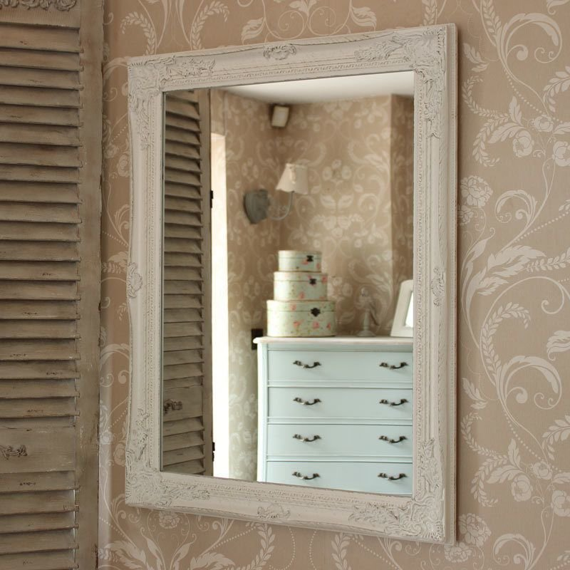 Best Large Ornate White Wall Mirror Shabby French Chic Bedroom With Pictures