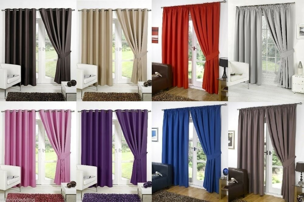 Best Supersoft Thermal Blackout Curtains Bedroom Curtain Black Silver Purple Beige Ebay With Pictures