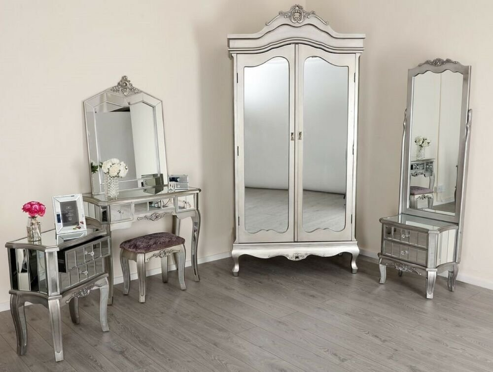 Best Mirrored Tv Stand Wardrobe Dressing Table French Style Mirror Bedroom Furniture Ebay With Pictures