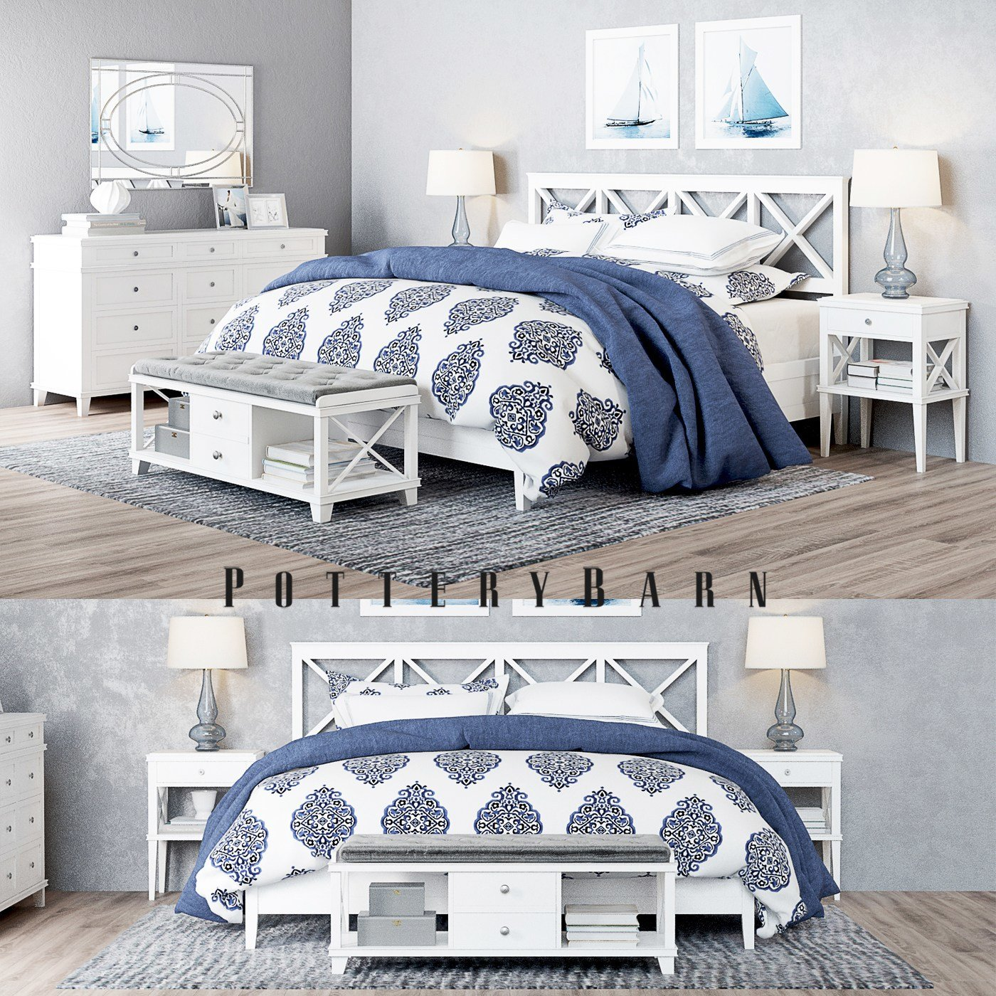 Best Pottery Barn Clara Lattice White Bedroom Set With Pictures