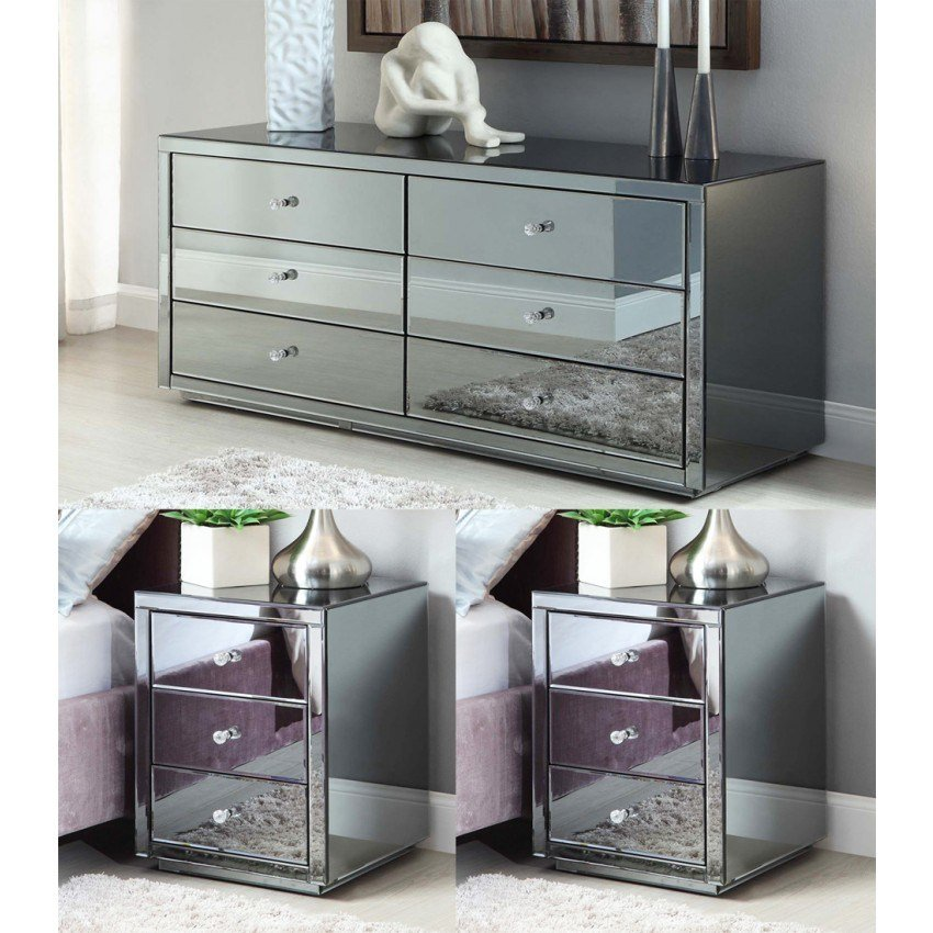 Best Vegas Smoke Mirrored Bedside Tables And Chest Package Mirror Furniture With Pictures