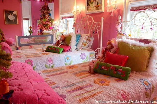 Best Pink Girl's Bedroom Furnished With Pottery Barn Furniture With Pictures
