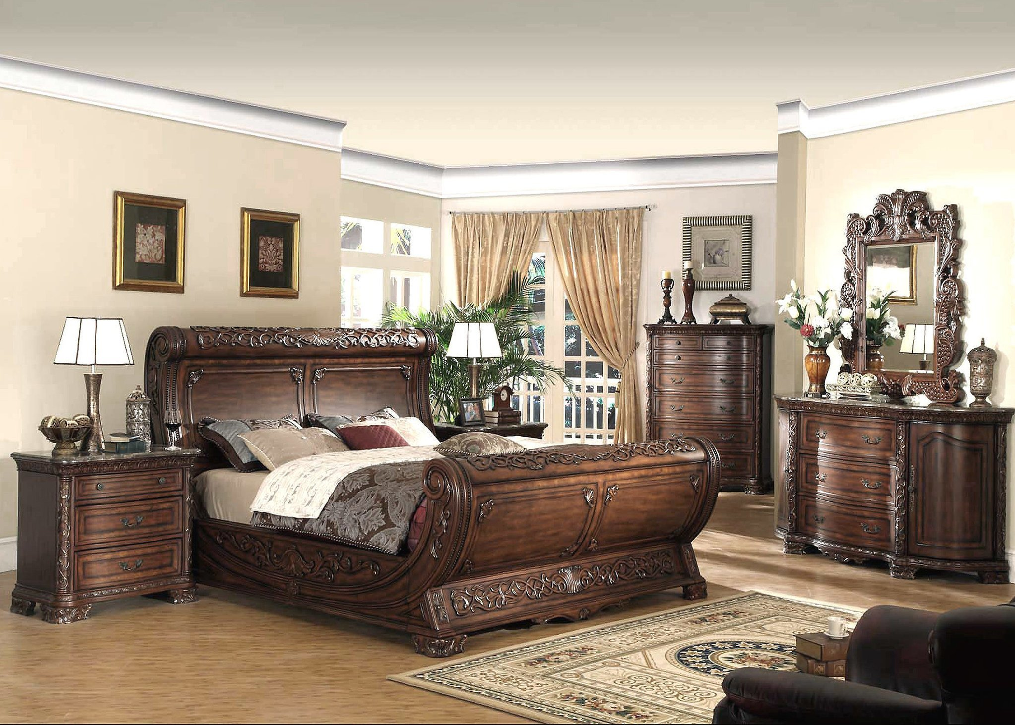 Best French Style Bedroom Furniture Cherry Sleigh Bed With Pictures