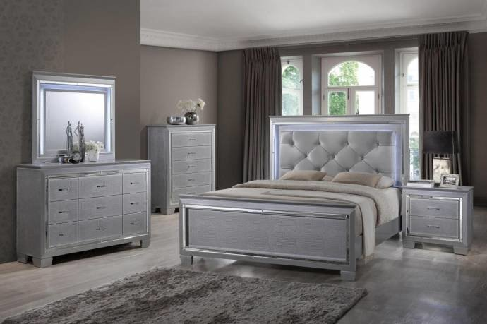 Best Soflex Tinley Silver Diamond Tufted King Bedroom Set 4Pcs With Pictures