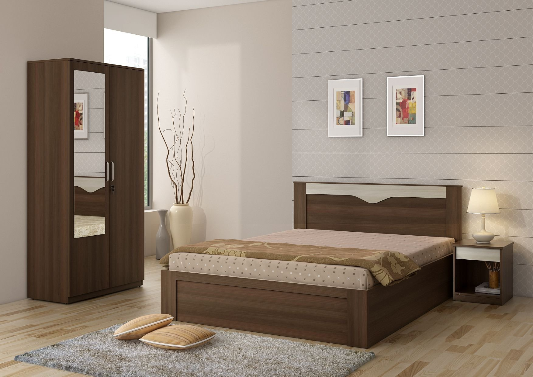 Best Spacewood Crescent Bed Room Set Queen Size Storage Bed With Pictures