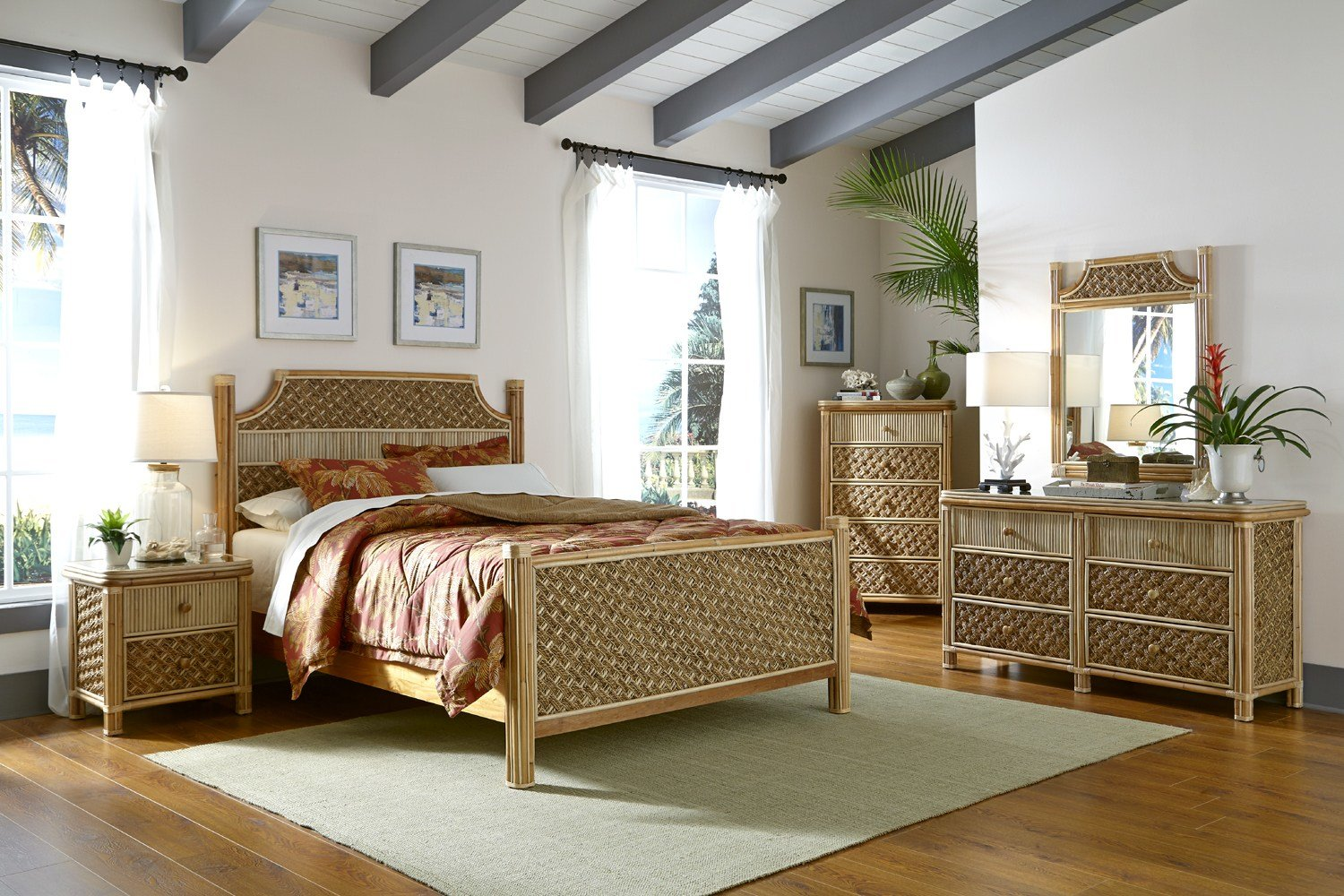 Best Mandalay Rattan 5 Pc Bedroom Queen Furniture Set By Spice With Pictures