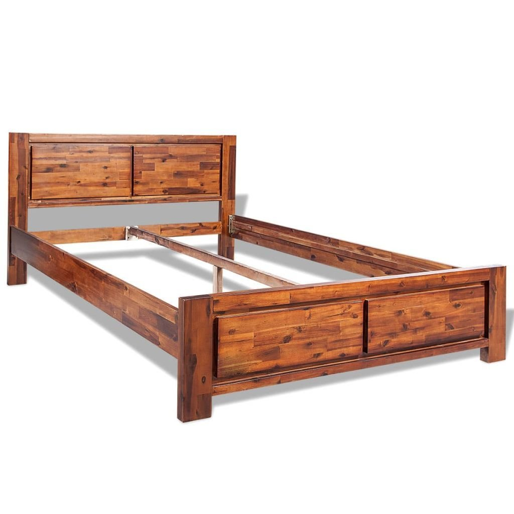 Best Vidaxl Wooden Bed Frame Solid Acacia Wood Brown 140X200 Cm With Pictures