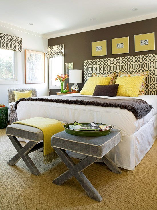 Best Yellow And Gray Bedroom Contemporary Bedroom Bhg With Pictures