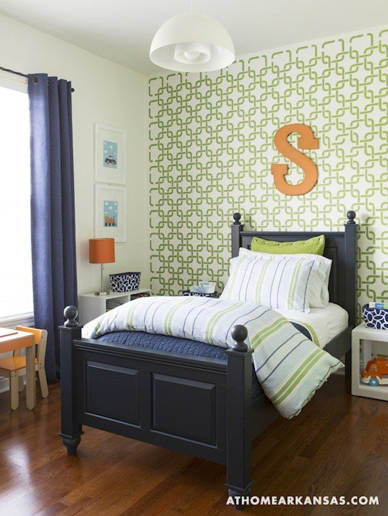 Best Geometric Wall Stencil Contemporary Boy S Room At With Pictures