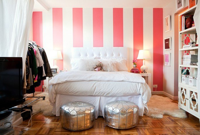 Best White And Pink Striped Wall Contemporary Bedroom With Pictures