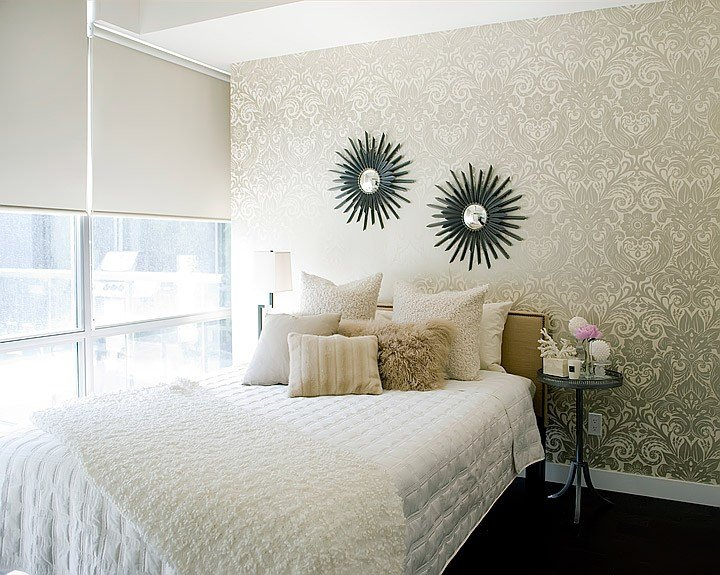 Best Gold Damask Wallpaper Contemporary Bedroom Jessica With Pictures