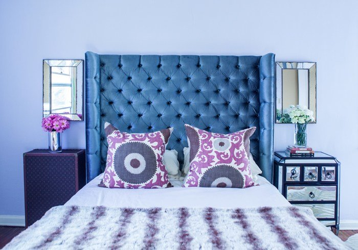 Best Gray Velvet Tufted Headboard Contemporary Bedroom With Pictures