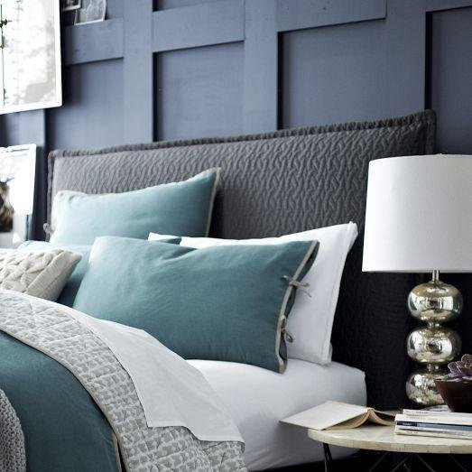 Best Matelasse Slipcover Headboard Feather Gray West Elm With Pictures
