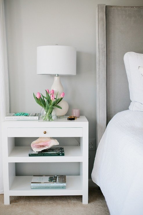 Best Gray Nightstand With Charcoal Gray Lamp Transitional Bedroom With Pictures