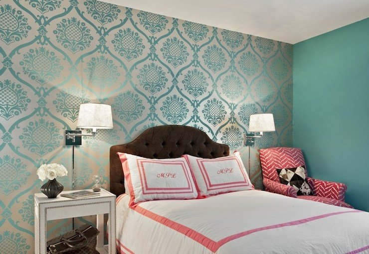 Best Teal Damask Wallpaper Transitional Bedroom Marks With Pictures