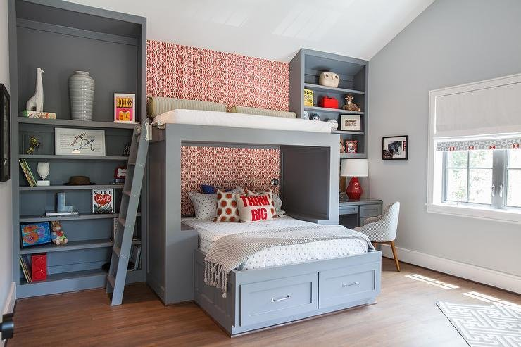 Best Kids Bed With Overhead Loft Contemporary Boy S Room With Pictures