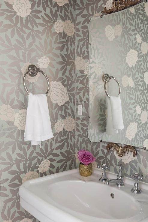 Best Pink And Gray Powder Room Wallpaper Transitional Bathroom With Pictures