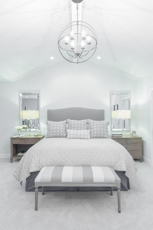 Best Gray Camelback Headboard With Striped Gray Bedroom Bench With Pictures