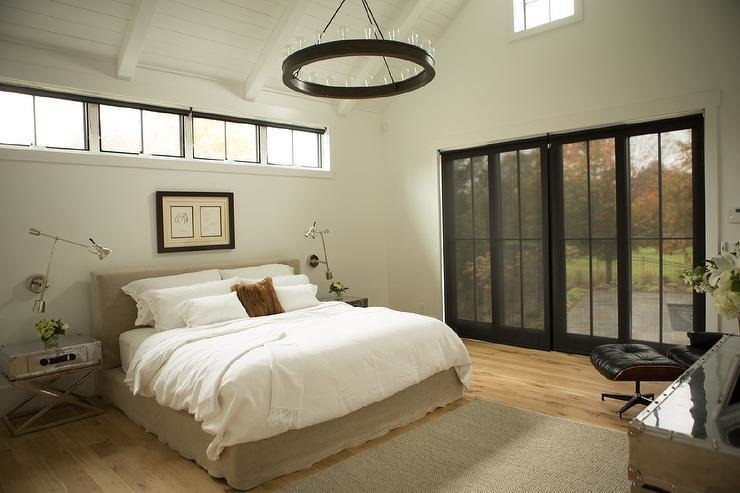 Best Bed Under Clerestory Windows Transitional Bedroom With Pictures