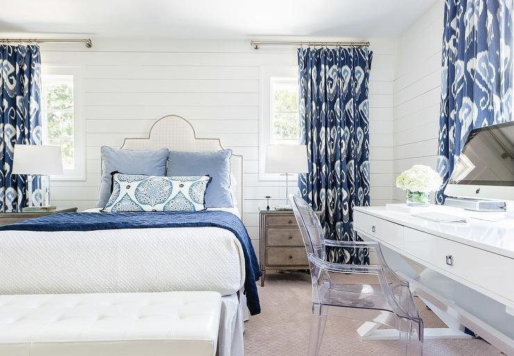 Best White And Blue Bedroom With Ikat Curtains Transitional Bedroom With Pictures
