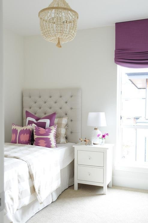 Best Tan And Purple Girls Bedroom With One Nightstand Transitional Girl S Room With Pictures