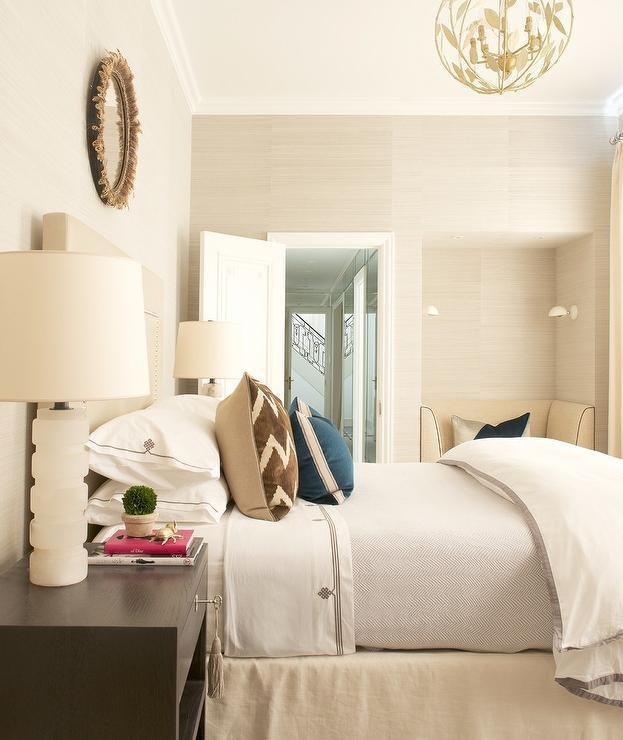 Best Cream And Brown Bedroom With Reading Nook Transitional With Pictures