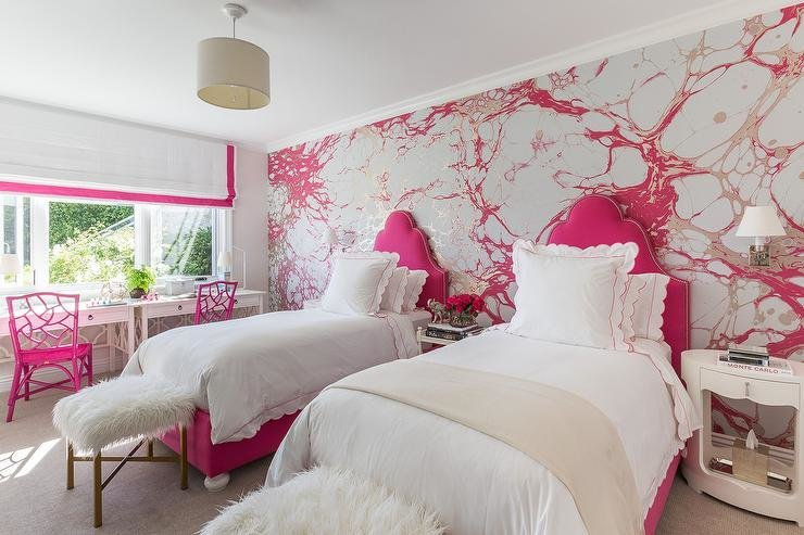 Best Silver And Pink Girls Bedroom With Hot Pink Headboards Contemporary Girl S Room With Pictures