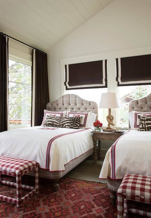 Best Pink And Brown Girls Bedroom With Gray Tufted Beds With Pictures